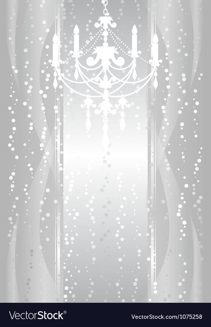 Silver frame with chandelier vector image
