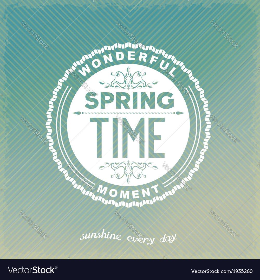 Spring retro label vector image