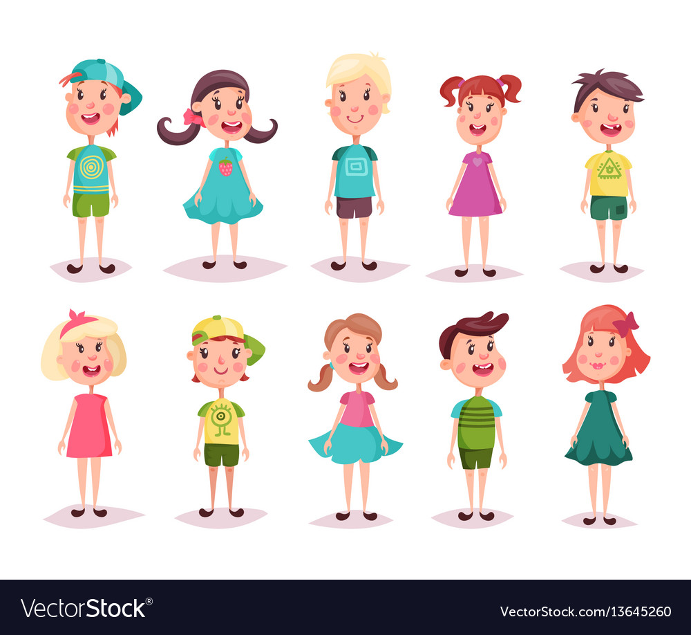 Boy and girl kids and children childhood theme vector image
