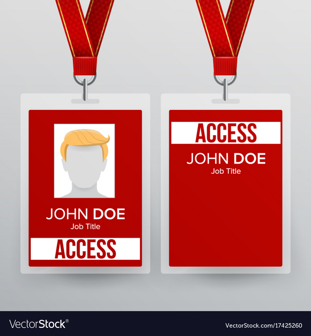 media pass template - press pass id card plastic badge template vector image
