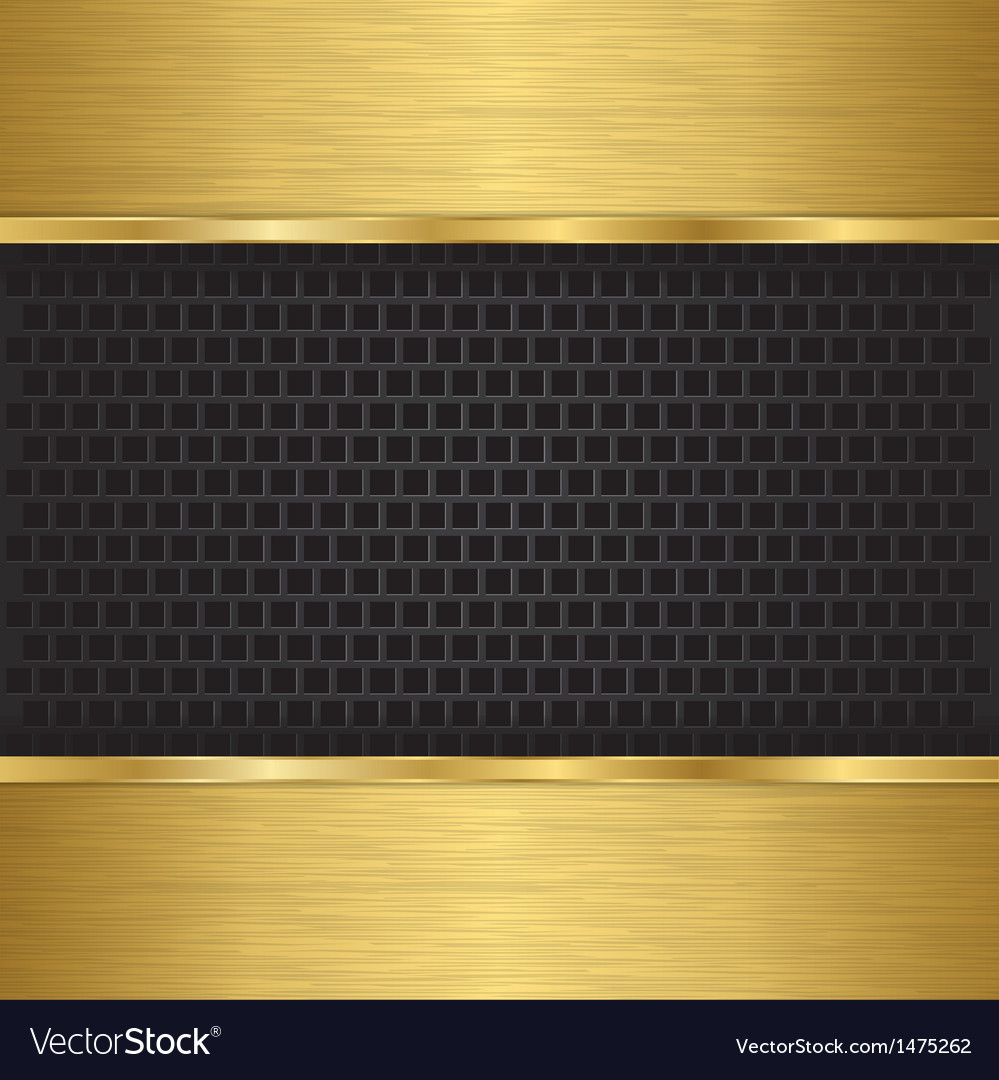 Abstract golden background with metallic speaker g vector image