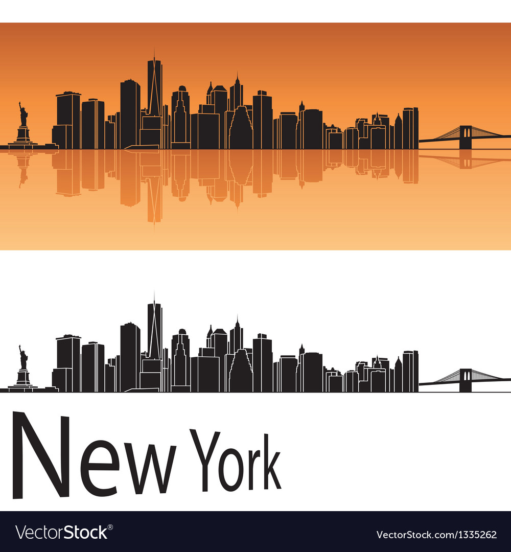 New York skyline in orange background vector image