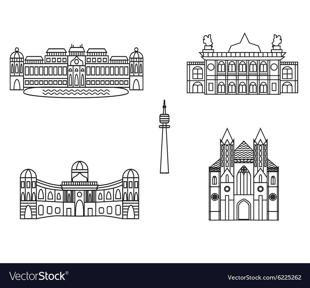 Vienna black silhouette city skyline buildings vector image