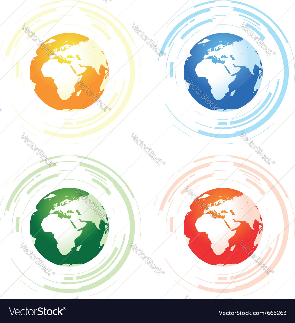 A set of four abstract worlds vector image