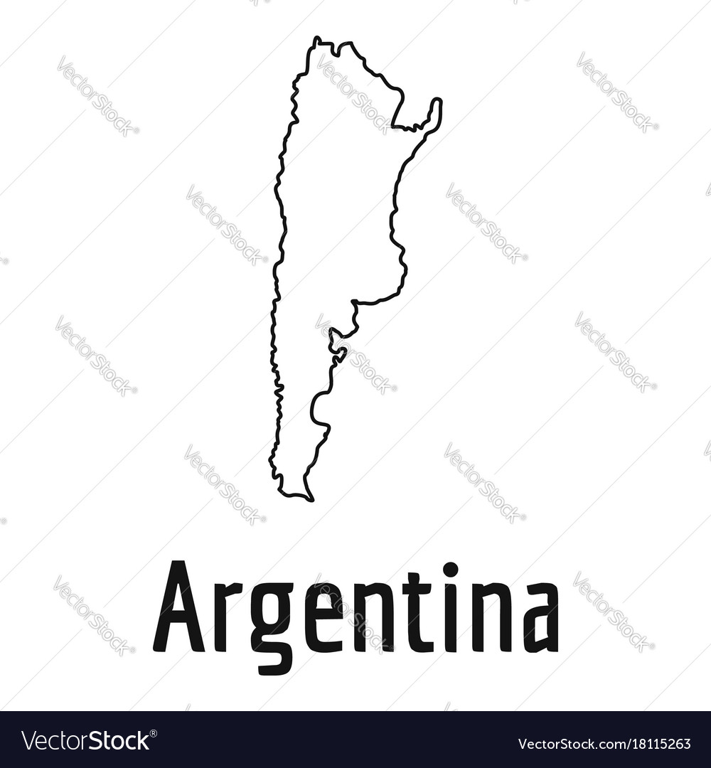 Argentina Map Ithin Line Simple Royalty Free Vector Image - Argentina map vector