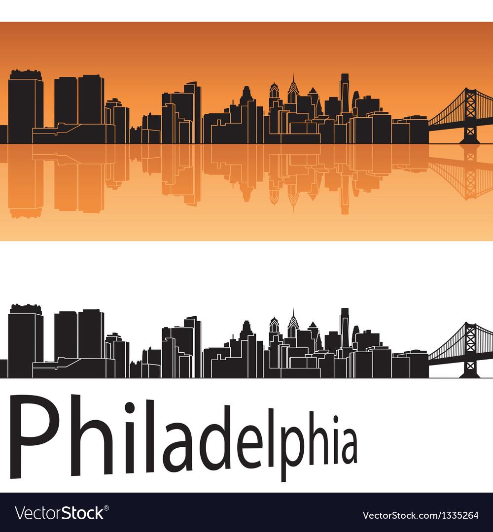 Philadelphia skyline in orange background vector image