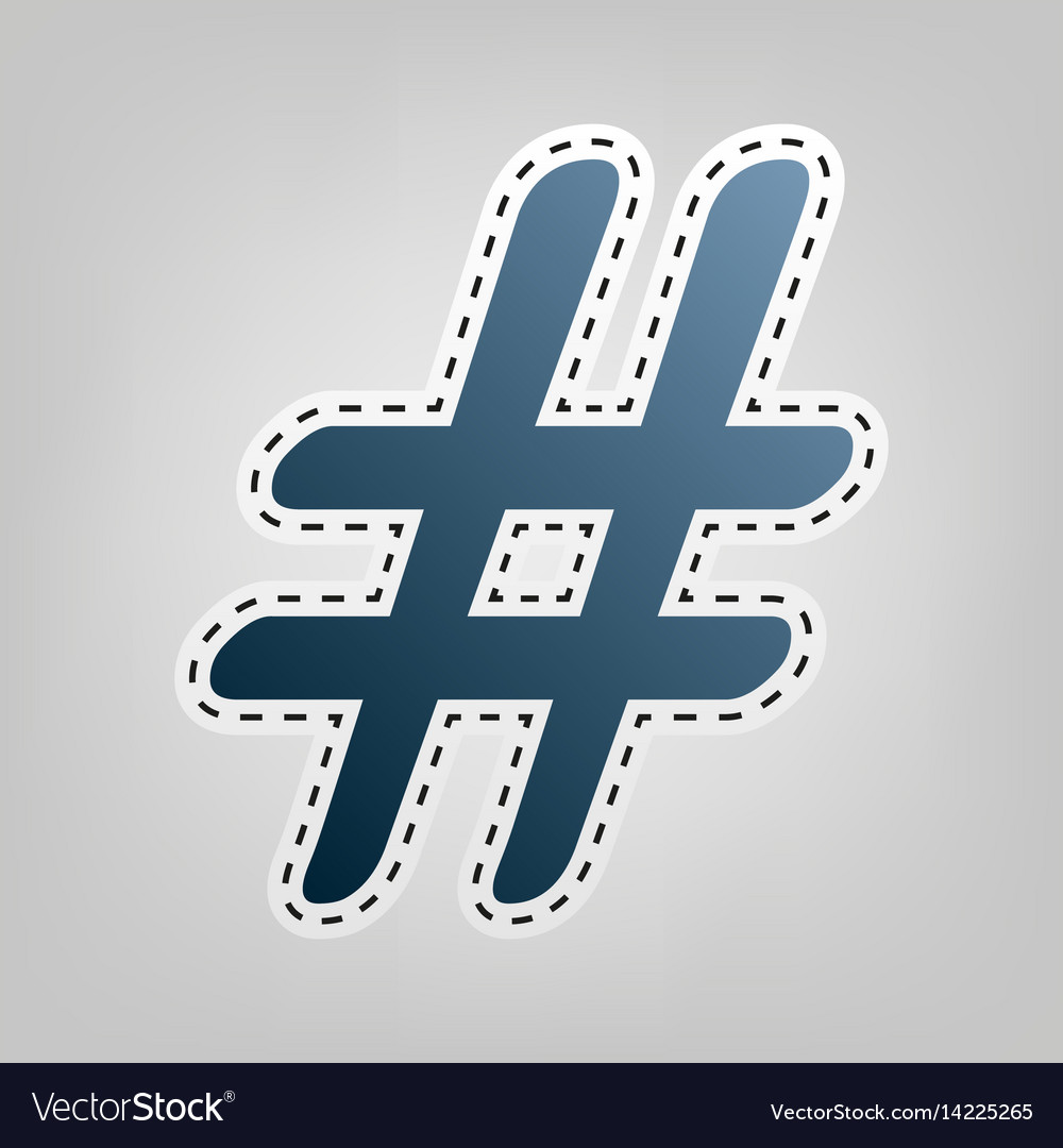 Hashtag sign blue icon with vector image