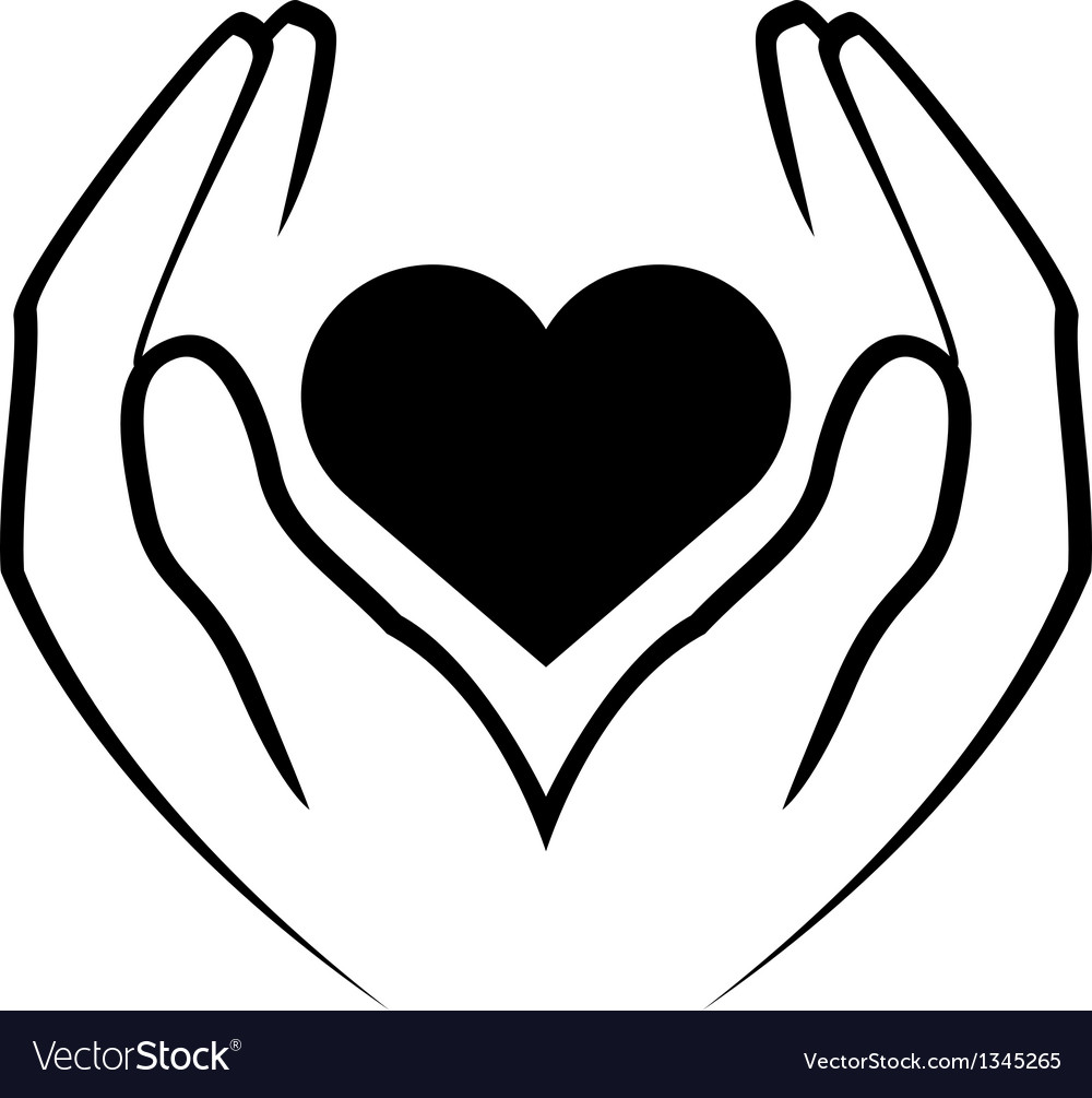 Icon - hands holding heart vector image