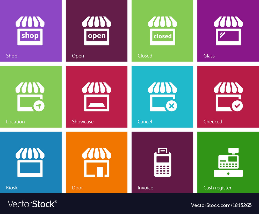 Shop icons on color background vector image