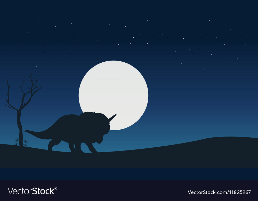 On the hill triceratops dinosaur scenery of vector image