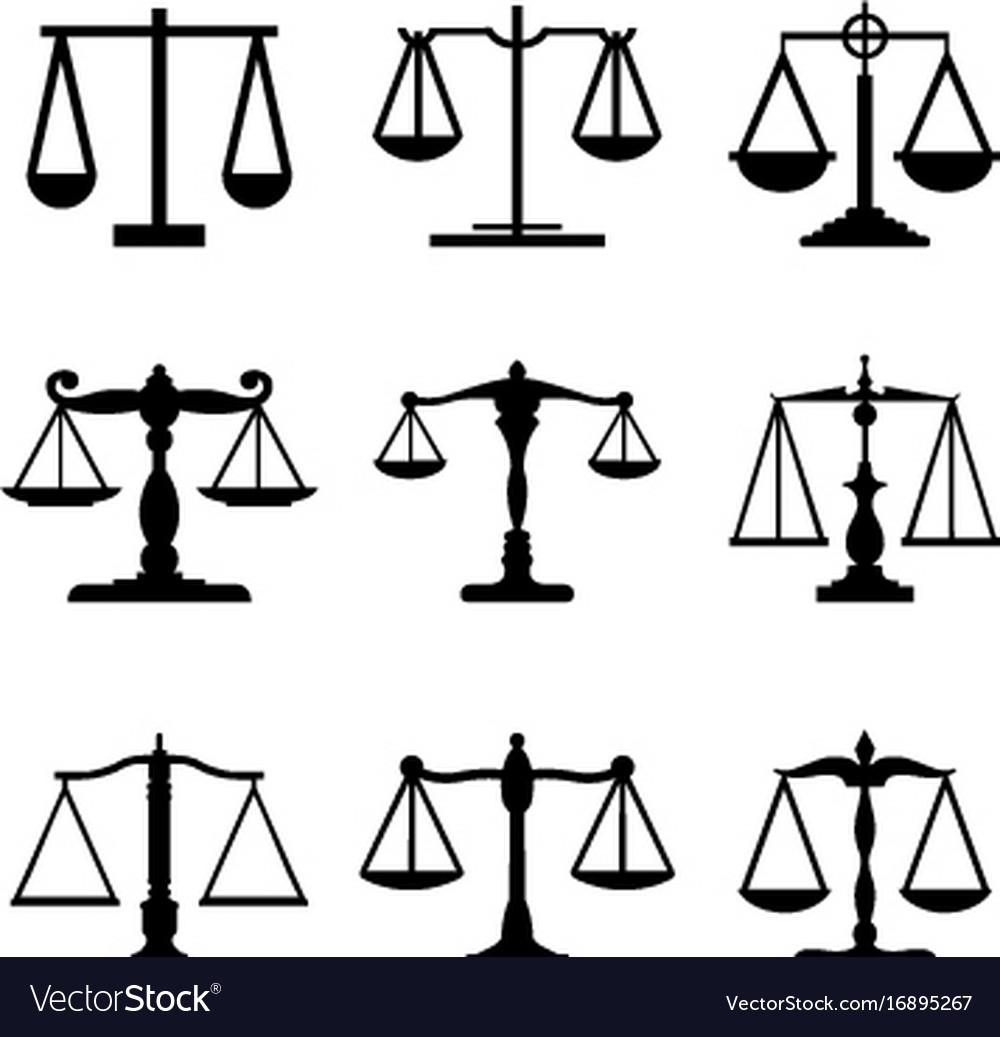 Vintage mechanical balance scale judge icon vector image