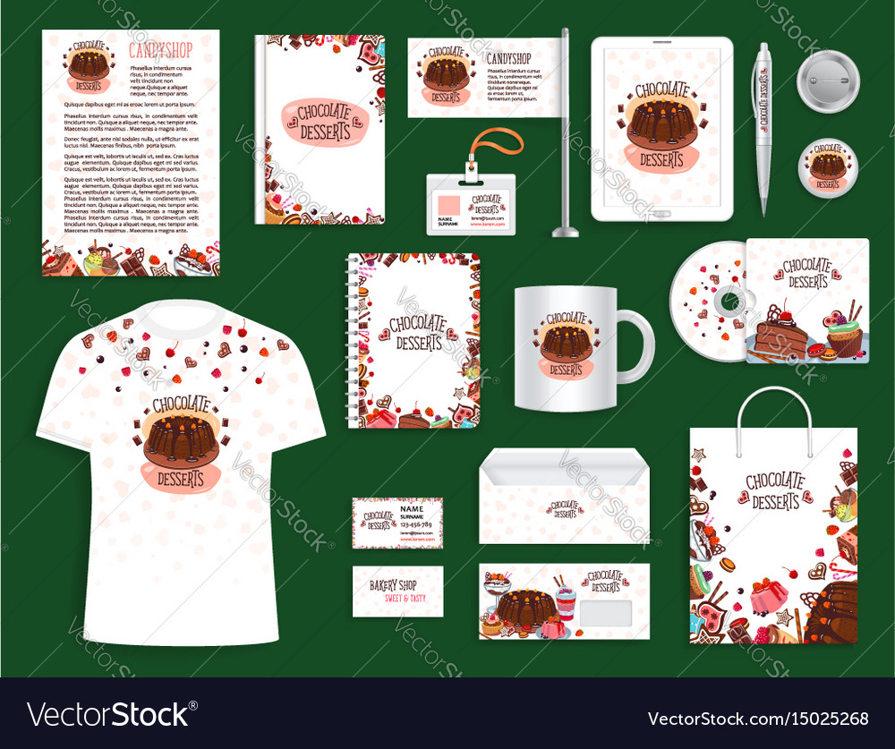 Corporate identity set for bakery and pastry shop vector image