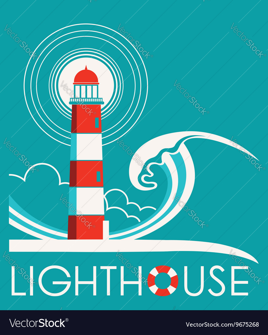Lighthouse graphic label with text vector image