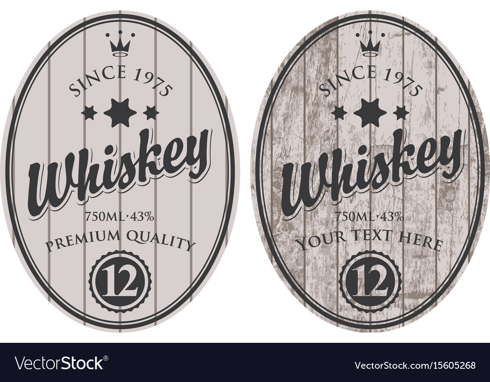Two oval labels for whiskey on wooden background vector image