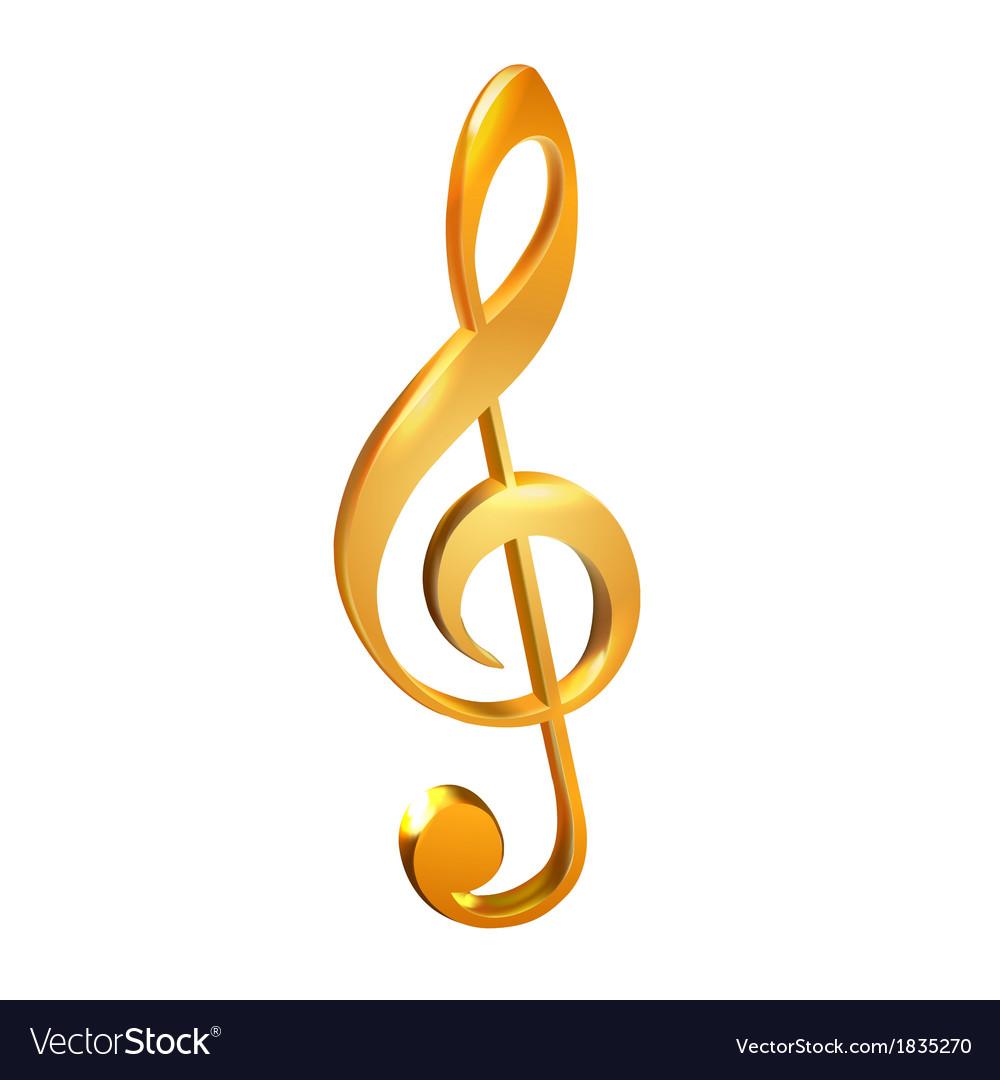 Gold treble clef white vector image