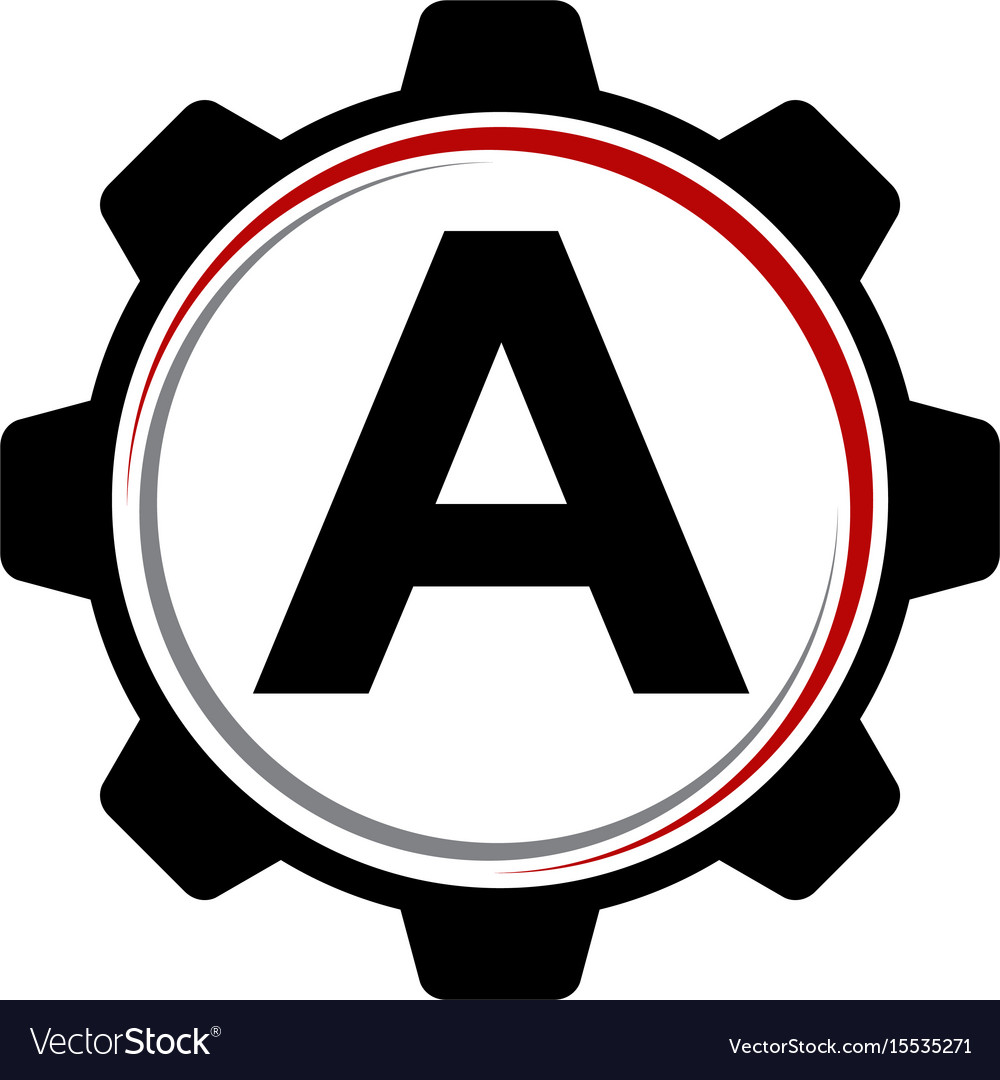 Gear solution logo letter a vector image