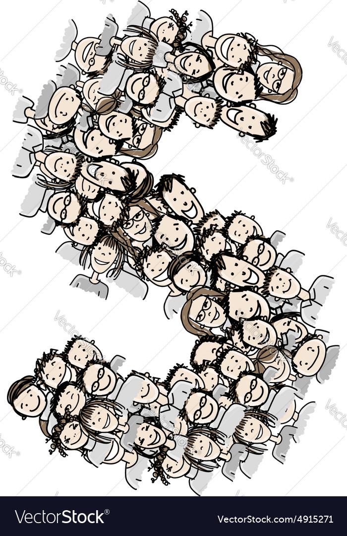Letter S people crowd alphabet design vector image