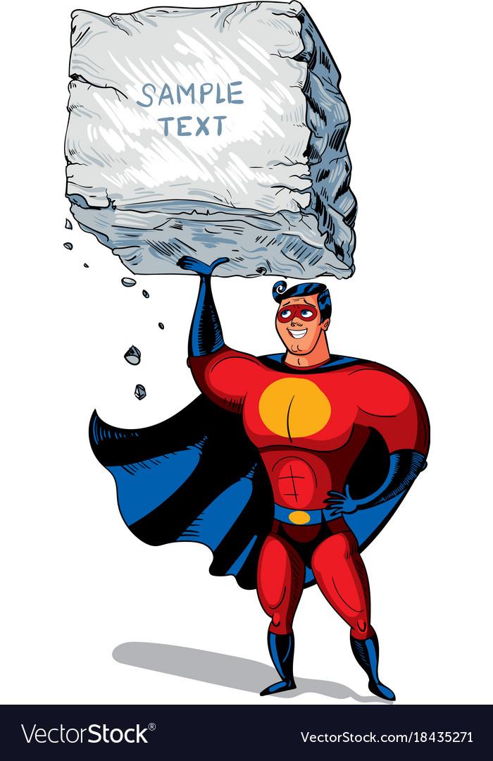 Super man raises a big boulder with text vector image