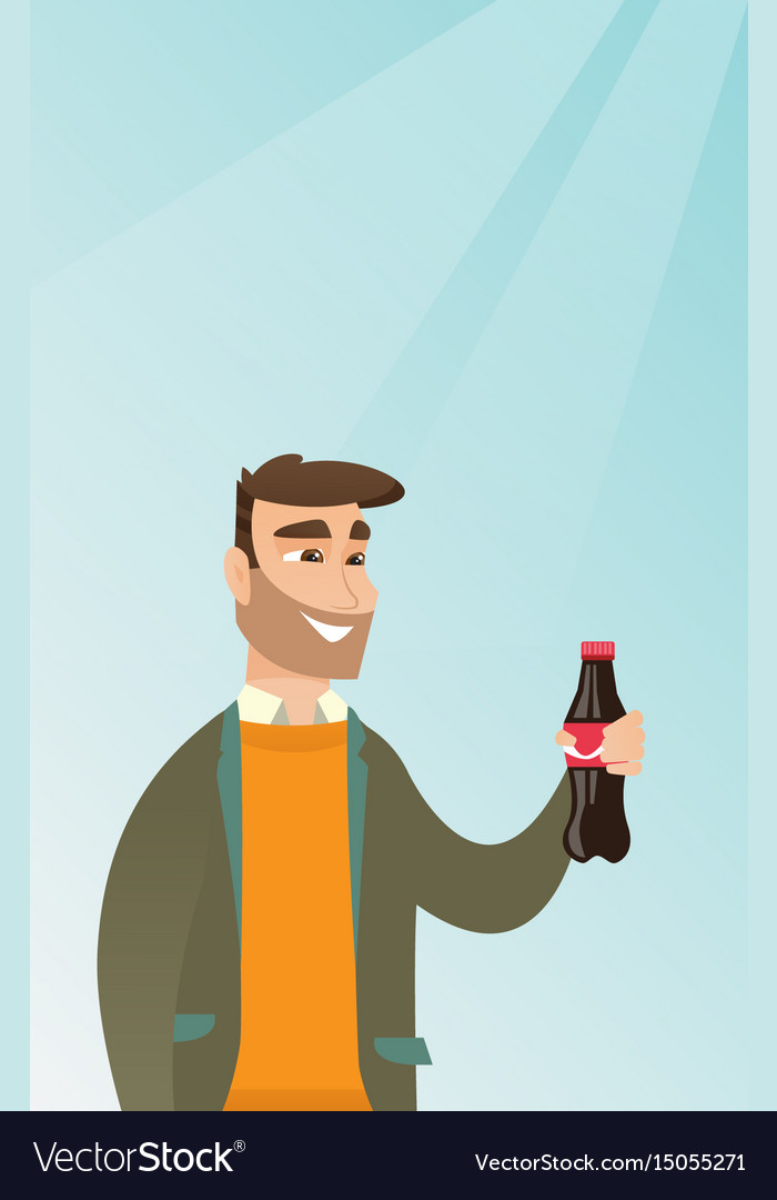 Young man drinking soda vector image