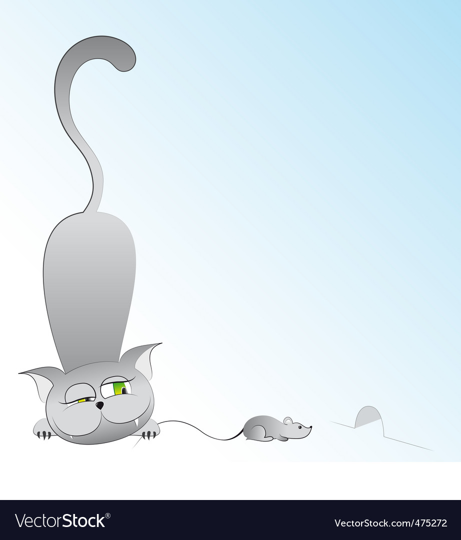 Cartoon cat and mouse vector image