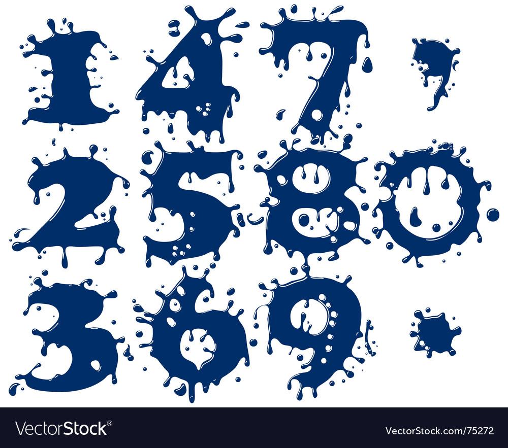 Splash numbers vector image