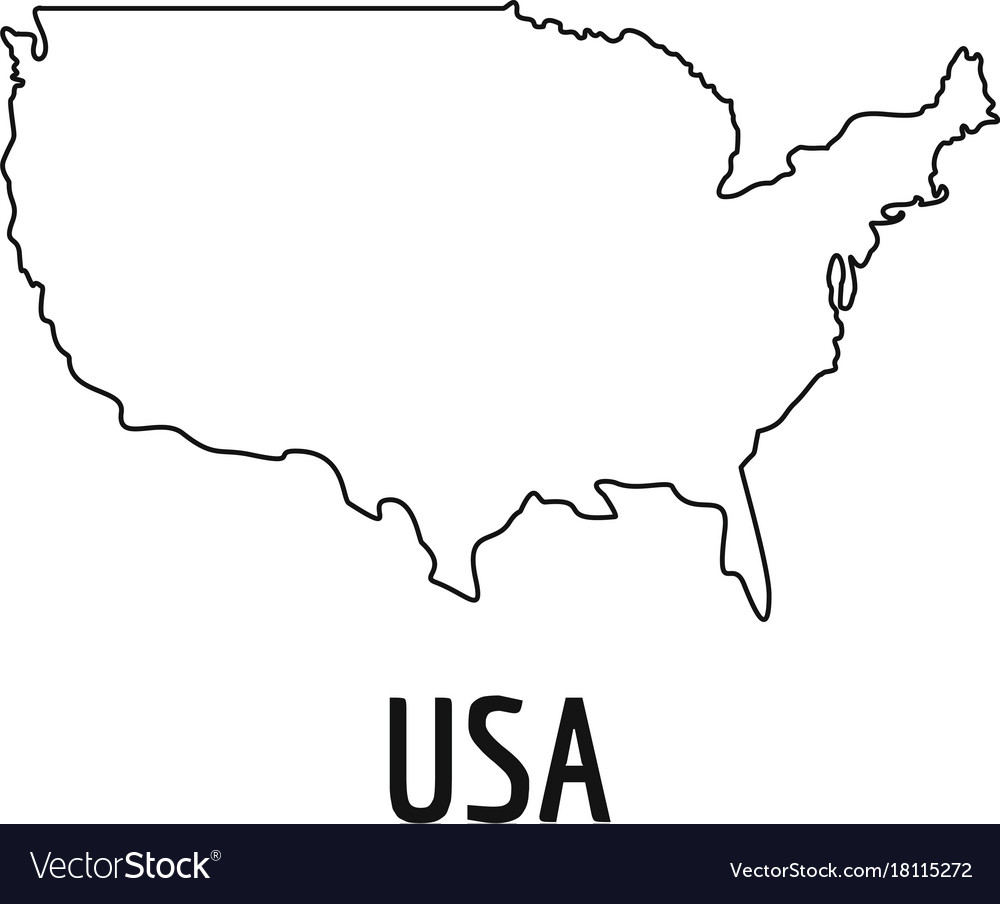 Usa Map Thin Line Simple Royalty Free Vector Image - Drawing of usa map