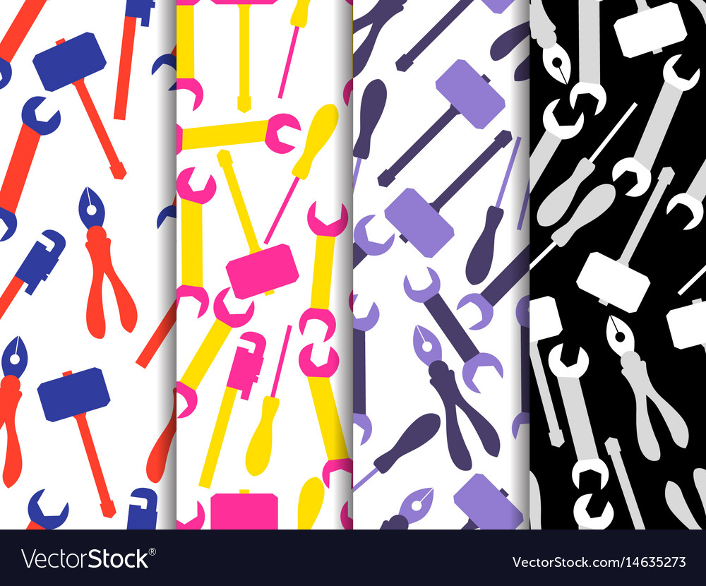 Repair tools seamless pattern set of backgrounds vector image