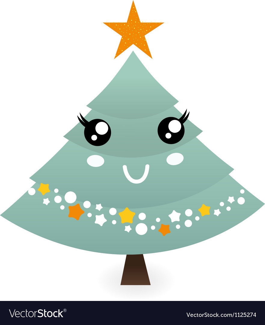 Cute christmas tree mascot isolated on white vector image