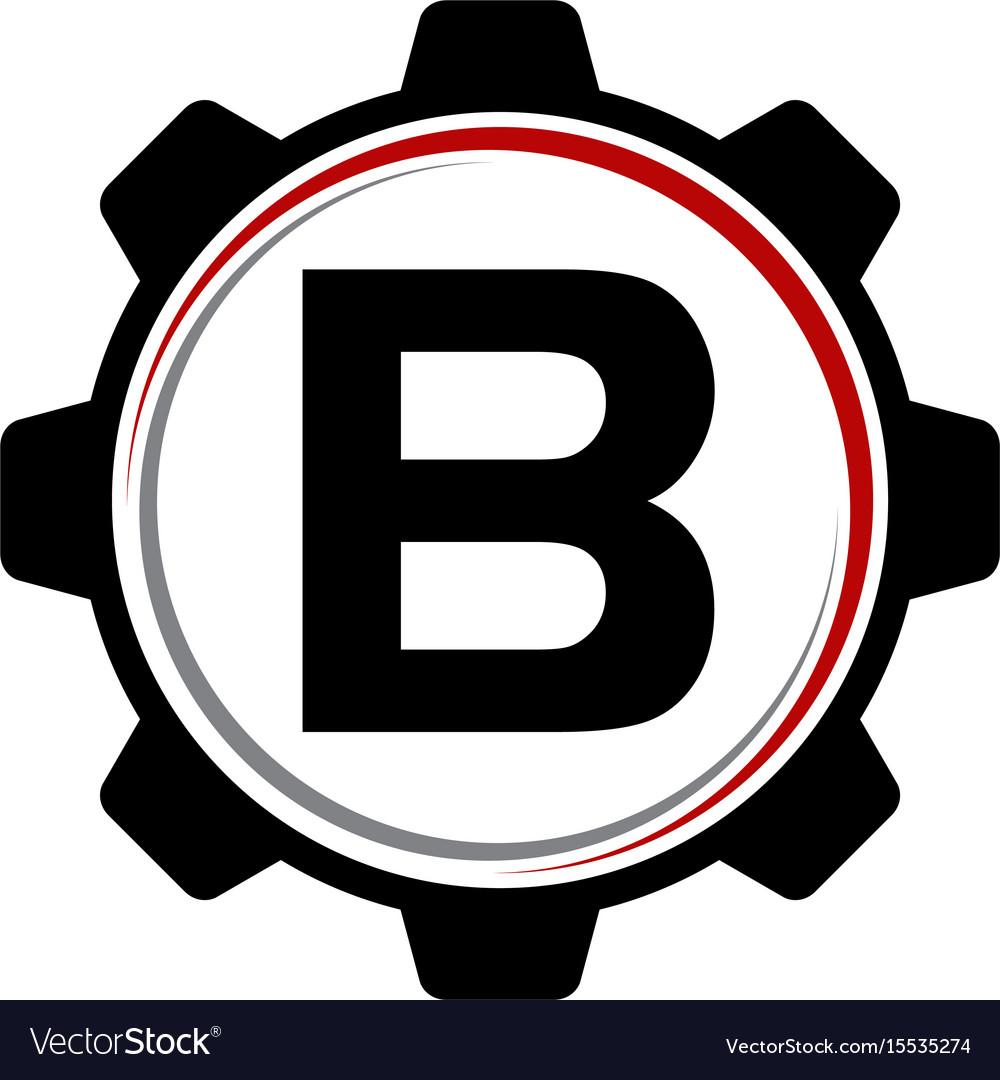 Gear solution logo letter b vector image