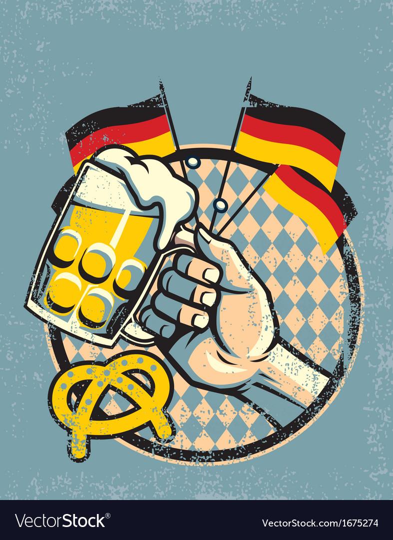 October fest beer design in vintage style vector image