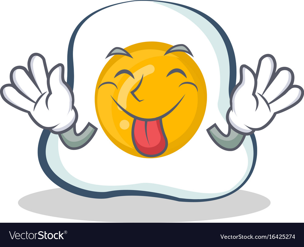 Tongue out fried egg character cartoon vector image