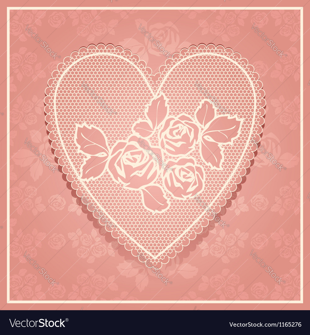 Pink lace in heart shape vector image