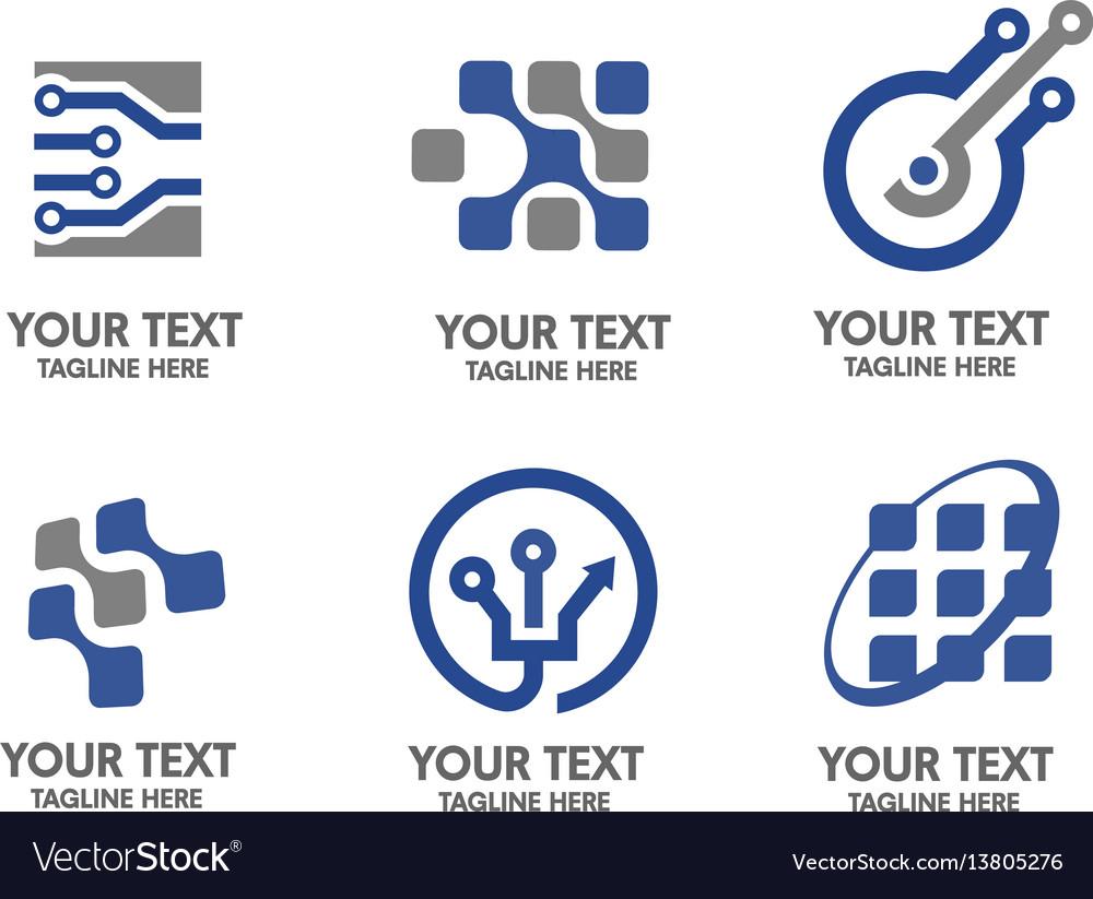Electronic and sigital logo set vector image