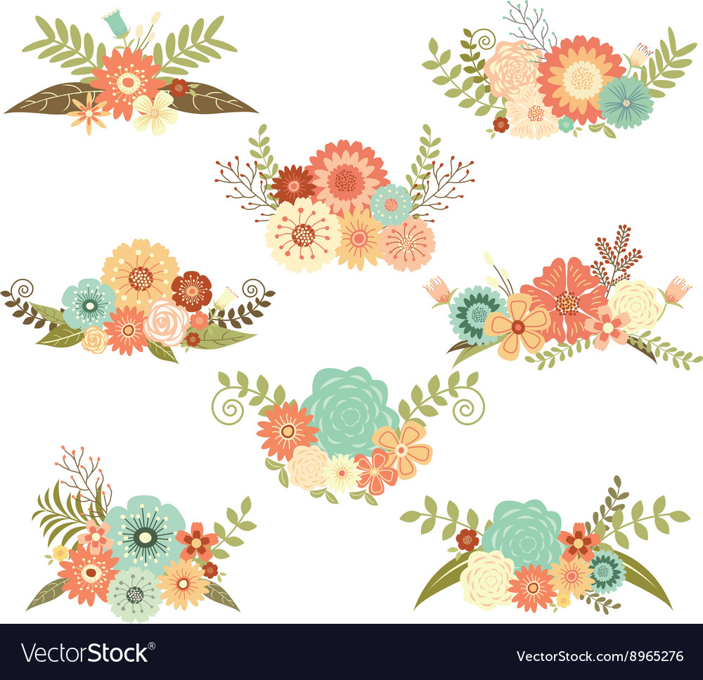 Wedding Flower Set vector image