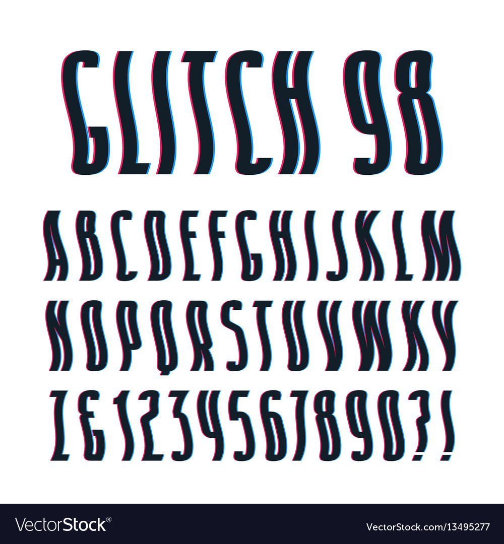 Decorative sanserif font with glitch wavy effect vector image
