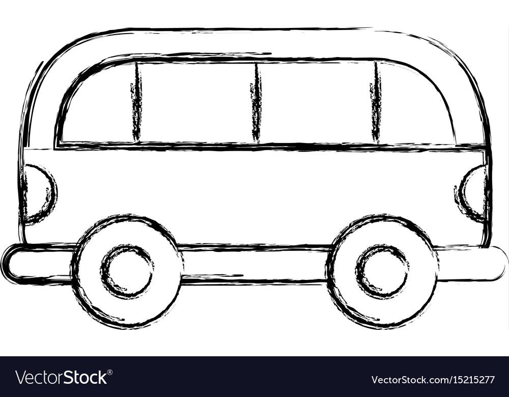 Sketch draw car cartoon Royalty Free Vector Image