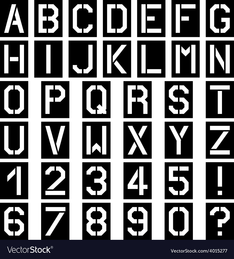 Stencil square font alphabet number Royalty Free Vector