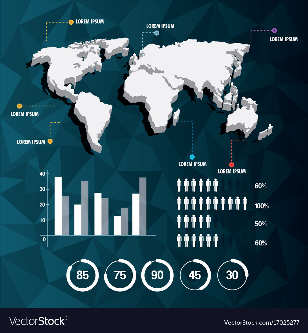 World map infographic demographic report data with world map infographic demographic report data with vector image gumiabroncs Gallery