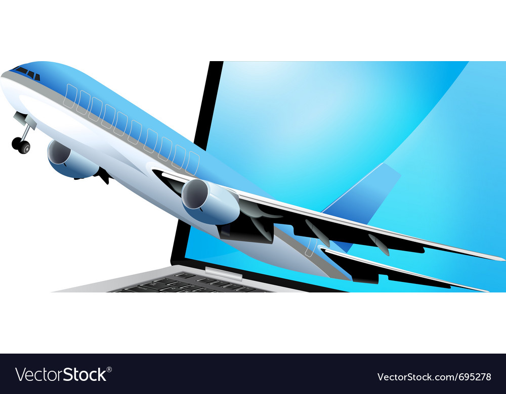 Laptop and plane vector image