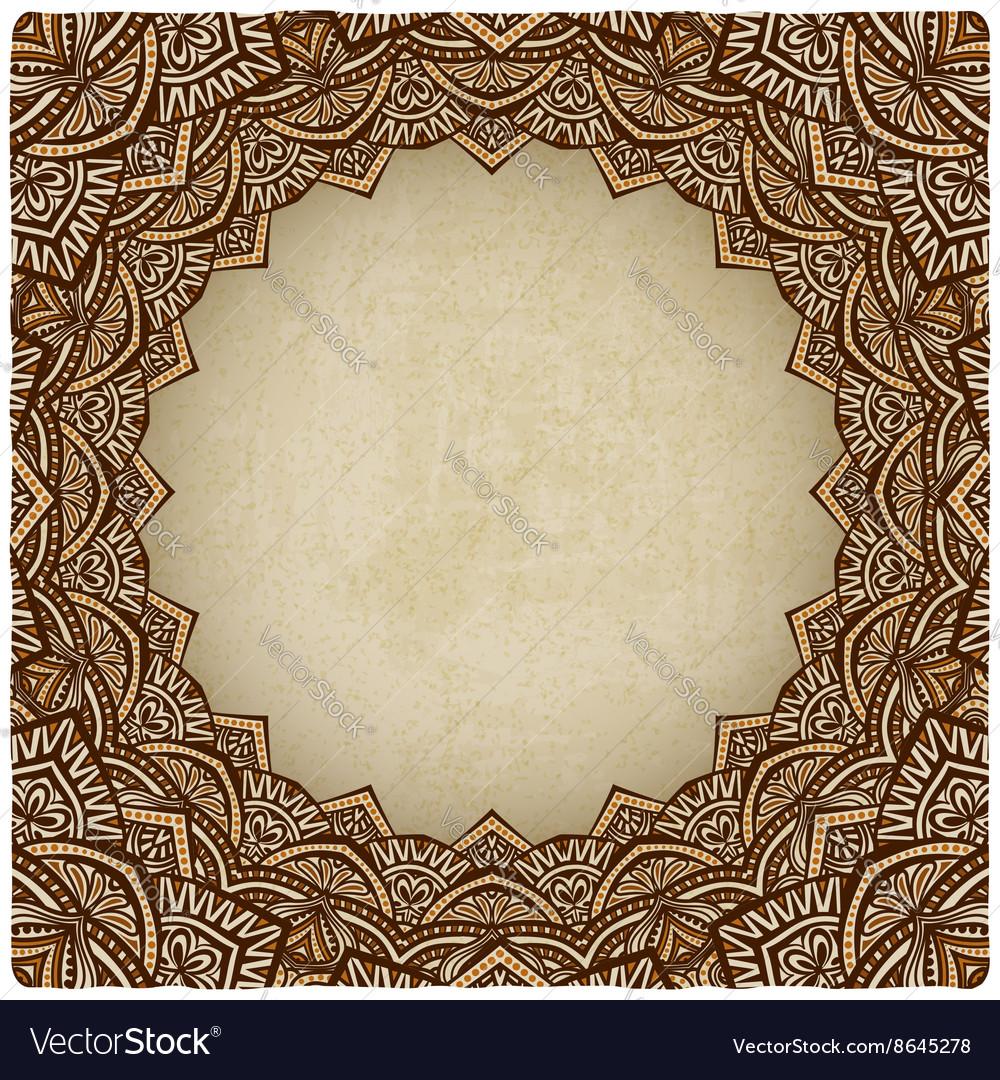 Brown frame ornament old background vector image