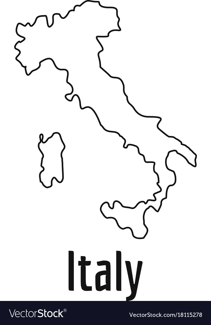 Italy Map Thin Line Simple Vector Image