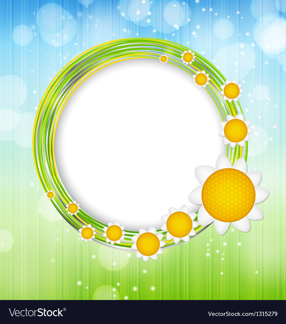 Abstract background with leaves and glass frame vector image