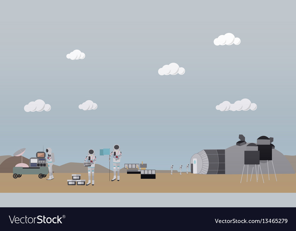 Exploration of mars concept in vector image