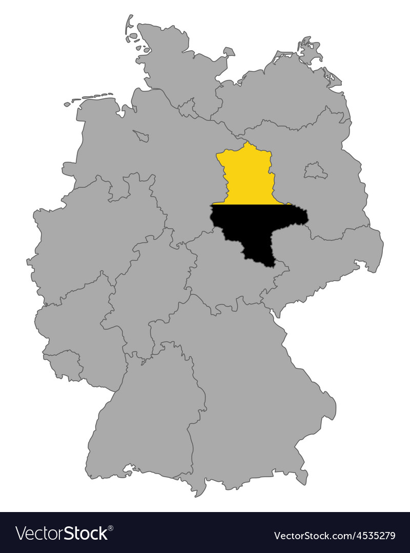 Map of Germany with flag of SaxonyAnhalt Vector Image