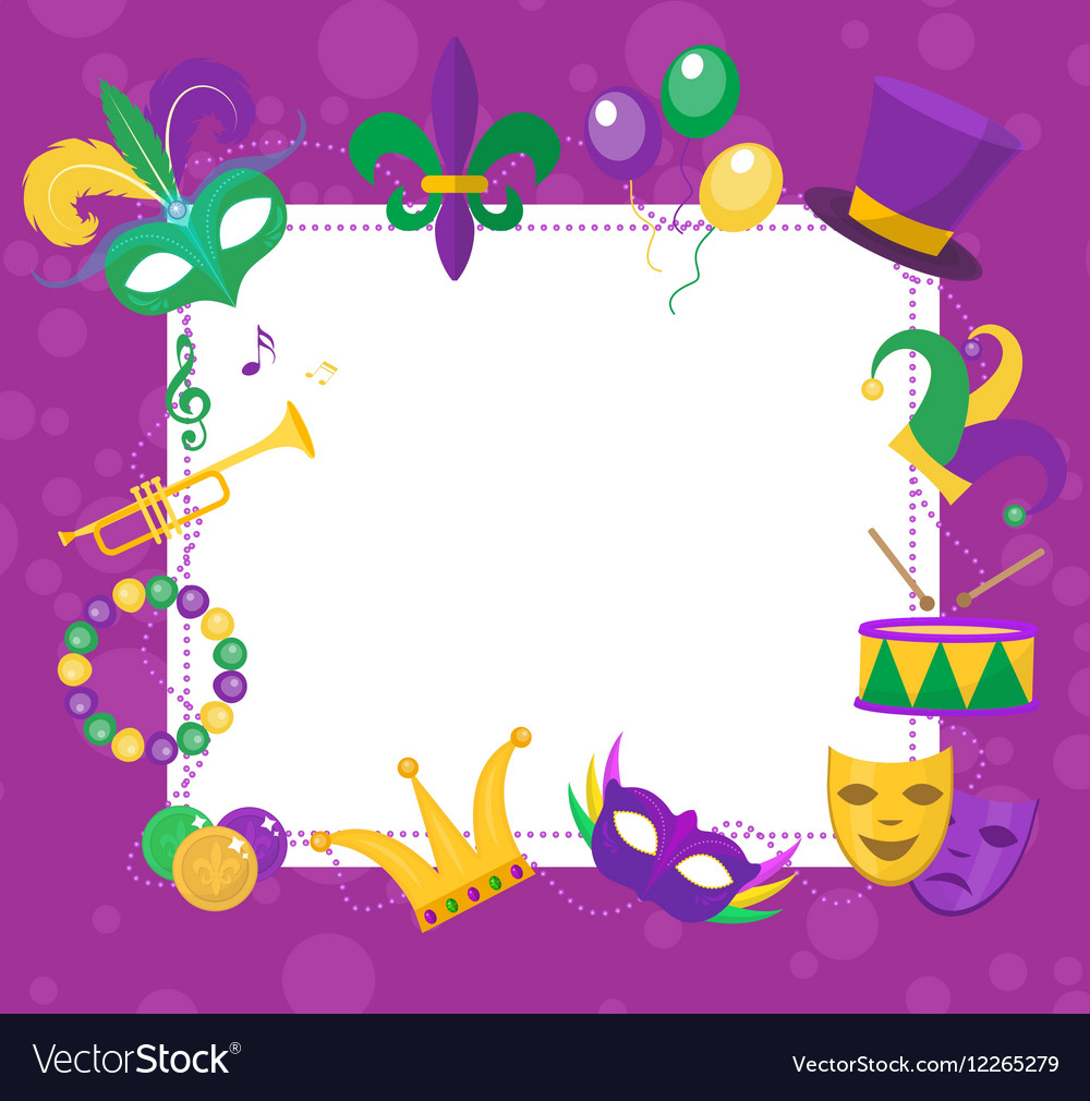 Mardi Gras frame template with space for text vector image