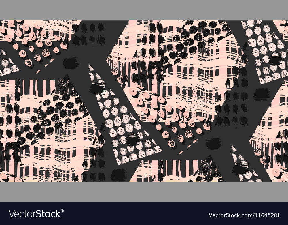 Abstract unusual hand made geometric seamless vector image