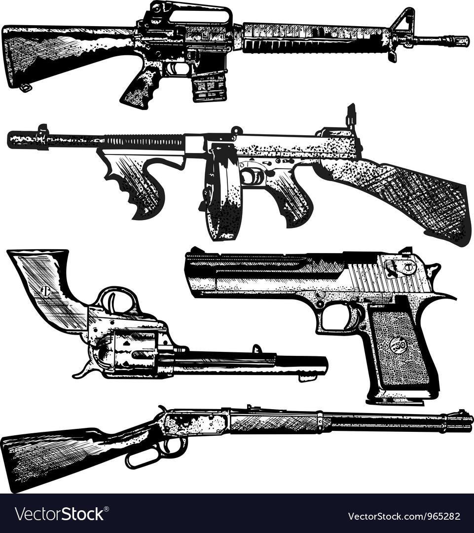 Grunge gun collection vector image
