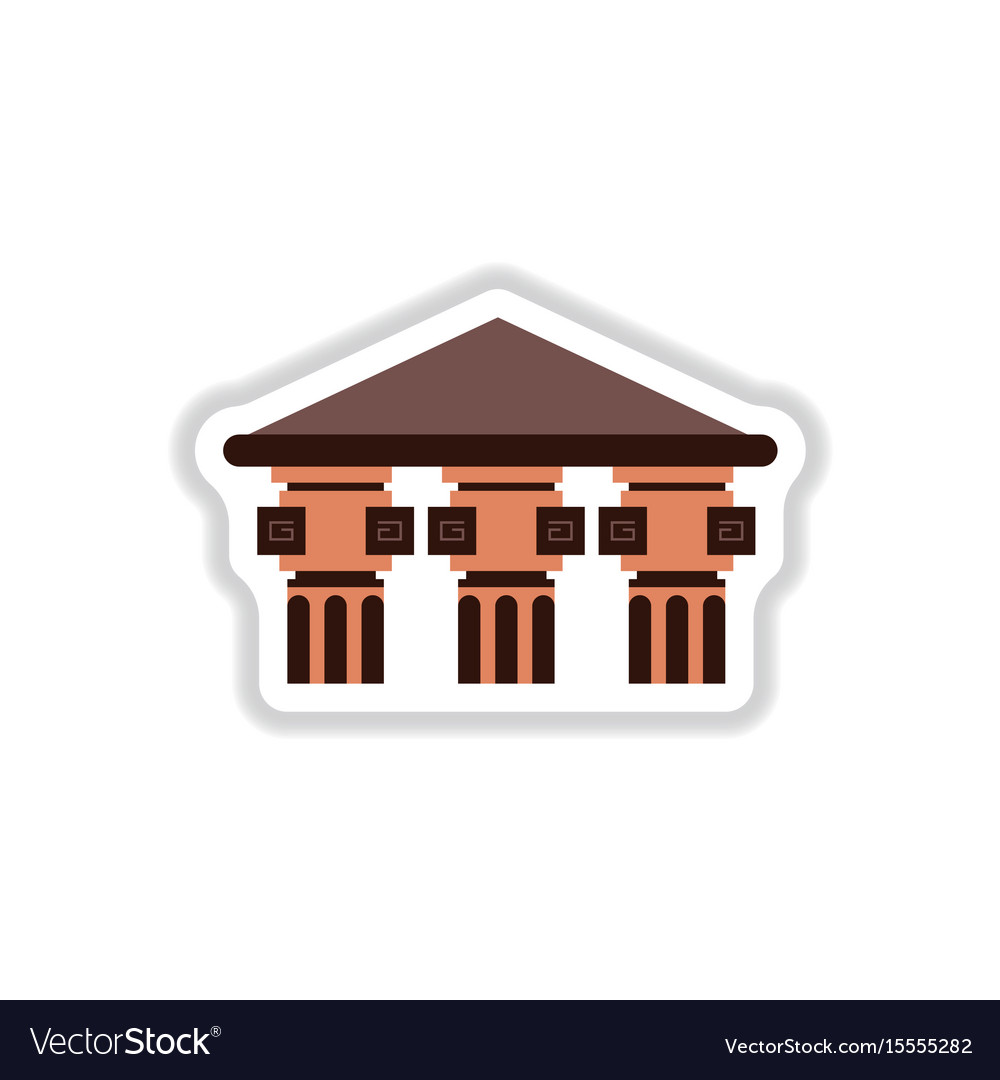 Greek Temple Icon Seamless Pattern