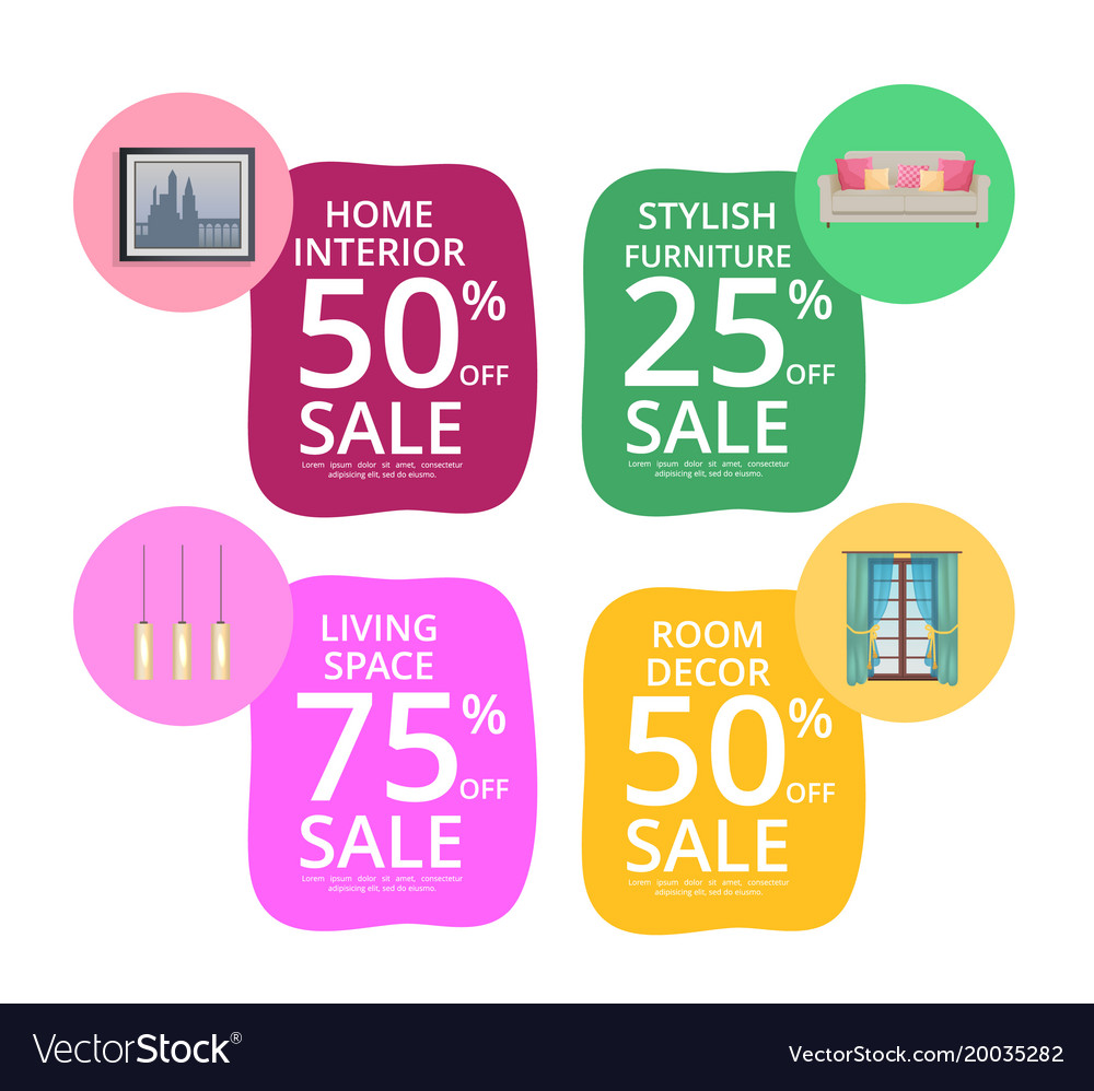 Home interior room decor living space sale banners vector image