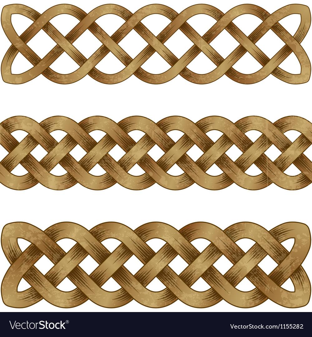Set of bronze celtic braids vector image